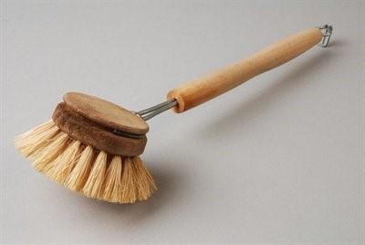Afwasborstel, ronde beukenhouten kop met daarin haren